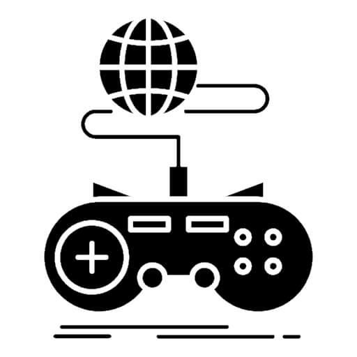Ilustração em forma de ícone de um controle de videogame conectado à um globo.