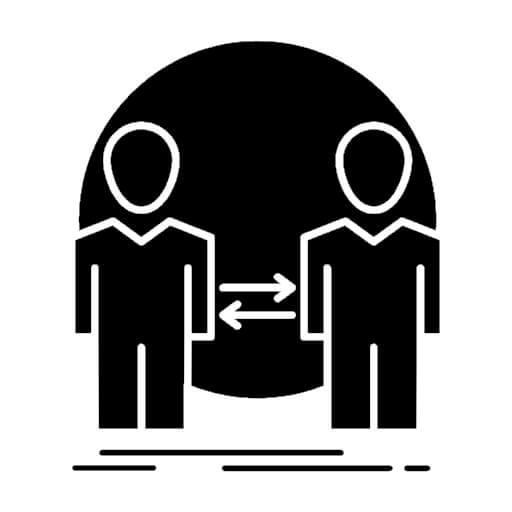 Ilustração em forma de ícone de duas pessoas com duas setas.