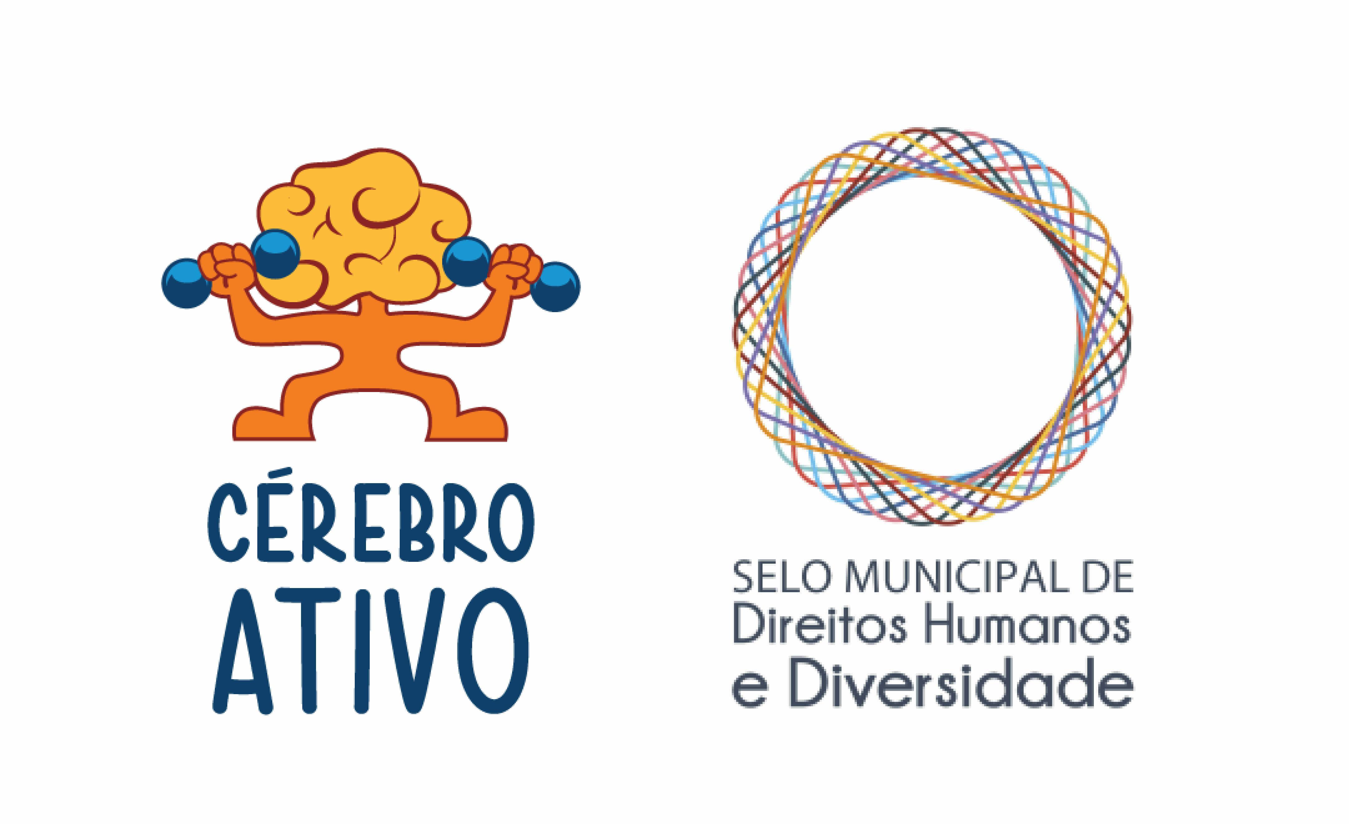 O logo do Cérebro Ativo do lado do Selo Municipal de Direitos Humanos e Diversidade.